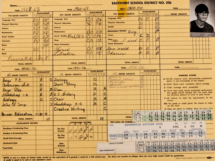 The record from an Eastmont student of the graduating class of 1974.