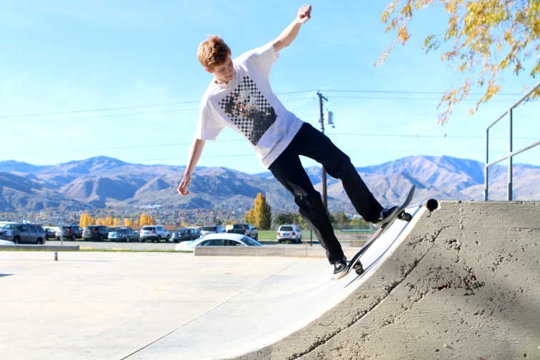Deven Heston rides in the Kenroy Skate Park during lunch.