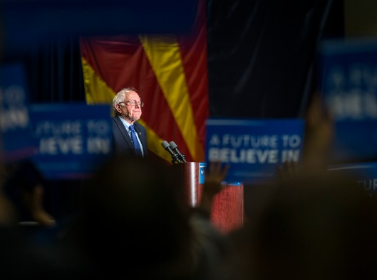 Then-Presidential candidate Bernie Sanders speaks during his rally at the Phoenix Convention Center in Downtown Phoenix on Tuesday, March 15, 2016.