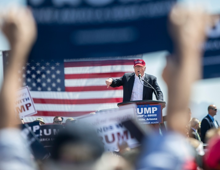 Then-presidential candidate Donald Trump speaks during a rally at Fountain Park in Fountain Hills, Arizona, on Saturday, March 19, 2016.