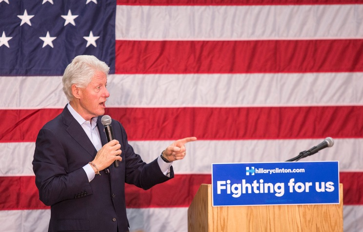 President Bill Clinton speaks during a campaign stop for his wife, then-Democratic presidential candidate Hillary Clinton, at Central High School in Phoenix, Arizona, on Sunday, March 20, 2016.
