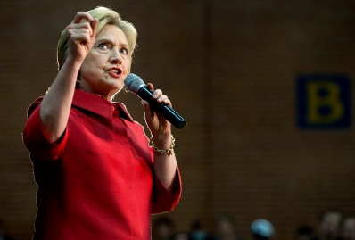 Then-Democratic presidential candidate Hillary Clinton speaks during a campaign stop at Carl Hayden Community High School in Phoenix, Arizona, on Monday, March 21, 2016.