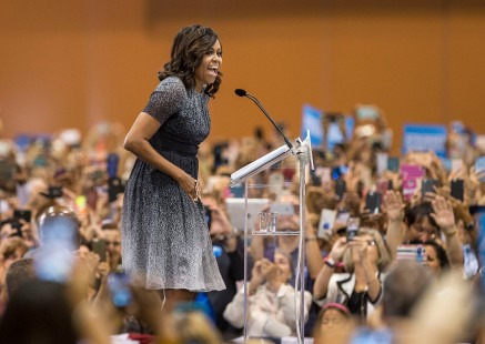 First lady Michelle Obama speaks to a crowd in the Phoenix Convention Center during a campaign stop for Democratic presidential nominee Hillary Clinton on Thursday, Oct. 20, 2016.