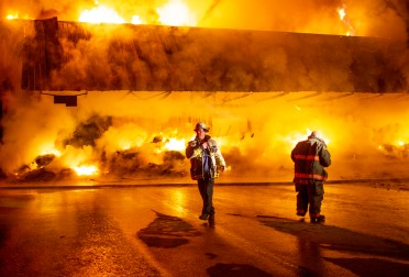 A Blue Bird fruit warehouse in Peshastin caught fire Sunday, leaving the building a total loss. No cause is known yet, according to local fire officials.